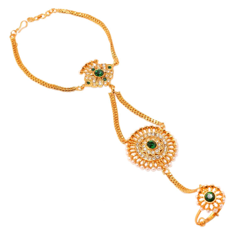 Jewar Mandi Hath Phool Bracelet Ring Kundan Ad Cz Pearl Gemstones Single//One Piece Jewelry for Women /& Girls 8182