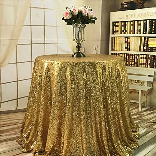 TRLYC Halloween Sparkly Gold Sequin Tablecloth,Rectangle--50Inch