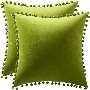 DEZENE Couch Pillow Cases 18x18 Chartreuse: 2 Pack Cozy Soft Pom-poms Velvet Square Throw Pillow Covers for Farmhouse Home Decor