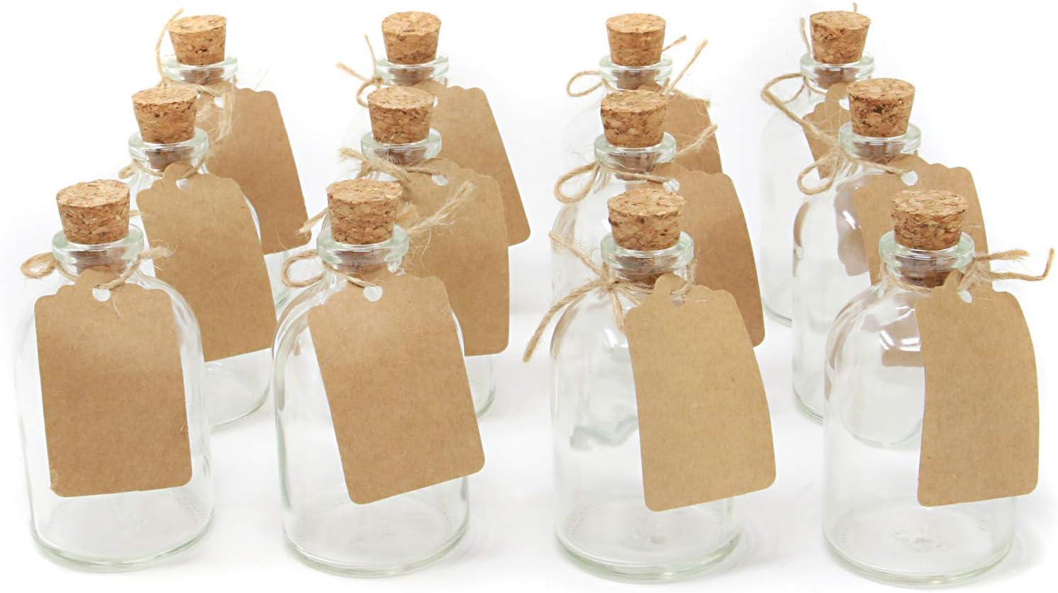 Juego de 12 botellas de vidrio mini | Favores de las decoraciones de la boda | Botellas De Vidrio De 50ml Con Tapas De Corcho | Incluye etiquetas adjuntas | Decoraciones de cocina | M&W
