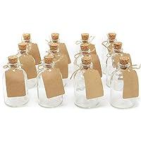 Juego de 12 botellas de vidrio mini  