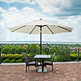 UMARDOO Patio Umbrella, Uhinoos 9 Ft Durable Alloy and Ribs outdoor table umbrella with Push Button Tilt and Crank, fade resistant,Water proof patio table umbrella (ivory) Review
