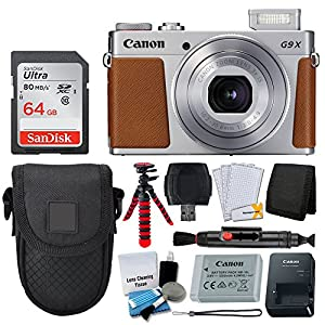 Canon PowerShot G9 X Mark II Digital Camera (Silver) + SanDisk 64GB Memory Card + Point & Shoot Case + Flexible Tripod + USB Card Reader + Cleaning Kit + LCD Screen Protectors + Full Accessory Bundle