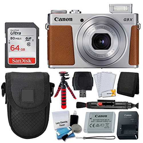 Canon PowerShot G9 X Mark II Digital Camera (Silver) + SanDisk 64GB Memory Card + Point & Shoot Case + Flexible Tripod + USB Card Reader + Cleaning Kit + LCD Screen Protectors - Full Accessory Bundle (Best Case For Canon G9x)