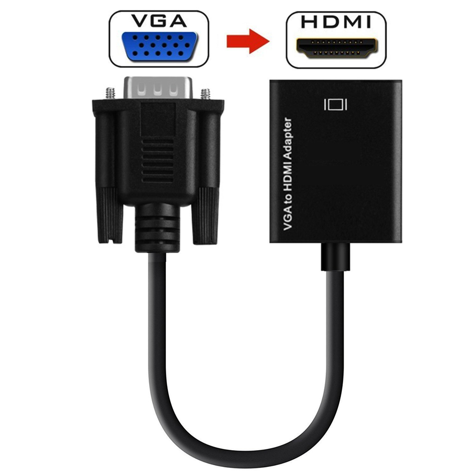 VGA to HDMI Adapter YUAWEE Plug and Play1080P HD Audio TV AV HDTV Video Cable with Audio HDMI to VGA Adapter with 3.5mm Audio Jack HDMI Female to VGA Male Converter for TV Stick Raspberry Pi, Laptop