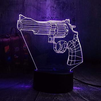 Dtcrzjxh Cool Battle Royale Juego Revolver Magnum Led Luz De Noche Lámpara De Mesa De Escritorio 7 Niños De Color De Juguete De Regalo De Navidad Decoración De La Habitación: Amazon.es: Bricolaje