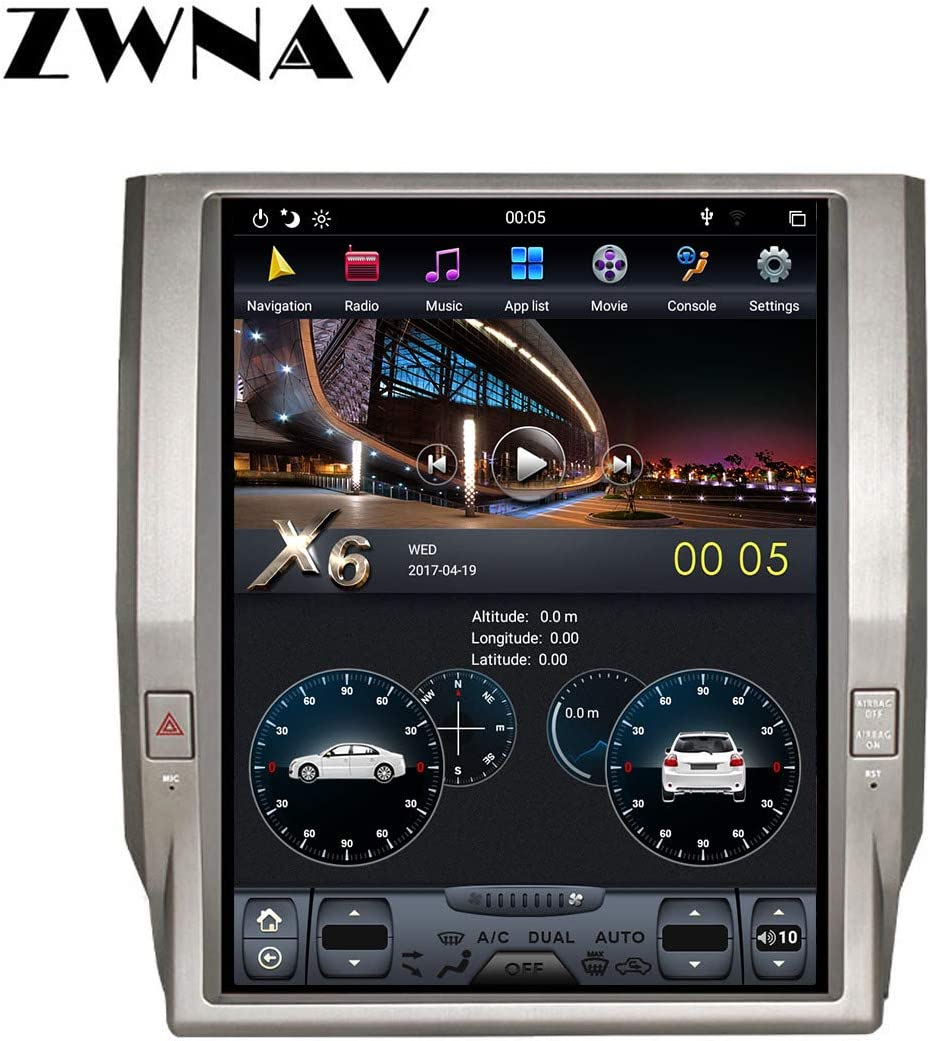 ZWNAV 12.1 inch Android 8.1 Car Stereo for Toyota Tundra 2014-2018, 4G RAM 64G ROM, Auto AC, Manual AC, Steering Wheel Control, Voice Control, Radio, Bluetooth, WiFi, HDMI (64G Built-in Carplay)