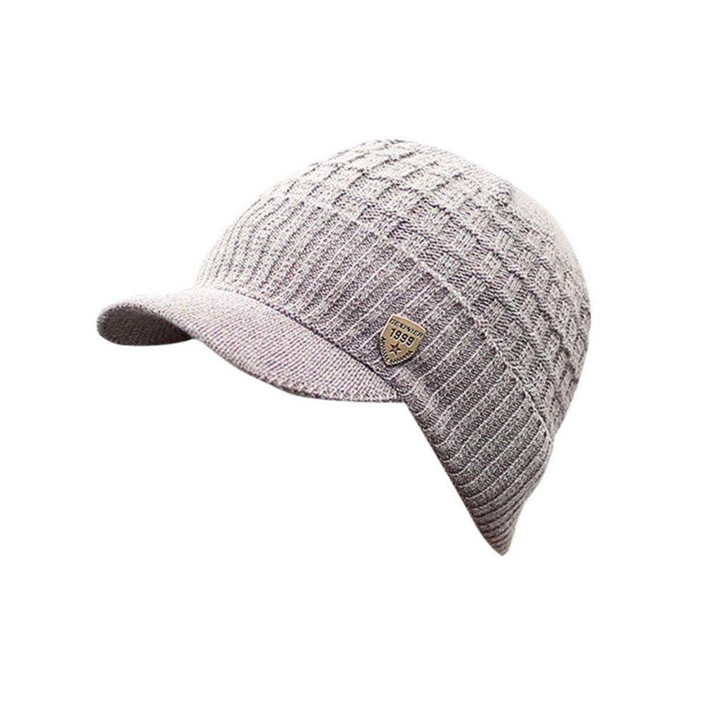 Invierno Hombre Gorro de Punto Tejer de lana Beanie Sombrero de gorras con  Viseras (Gris)  Amazon.es  Ropa y accesorios 0cdc7b4302ff