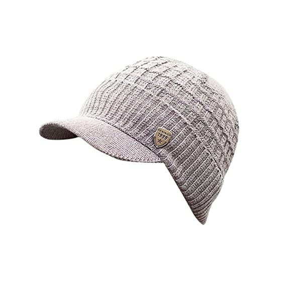 Invierno Hombre Gorro de Punto Tejer de lana Beanie Sombrero de gorras con  Viseras (Gris 843d27412ed