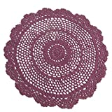 "14"" Burgundy Round Cotton Hand Crocheted Lace Doilies, Set of 2"
