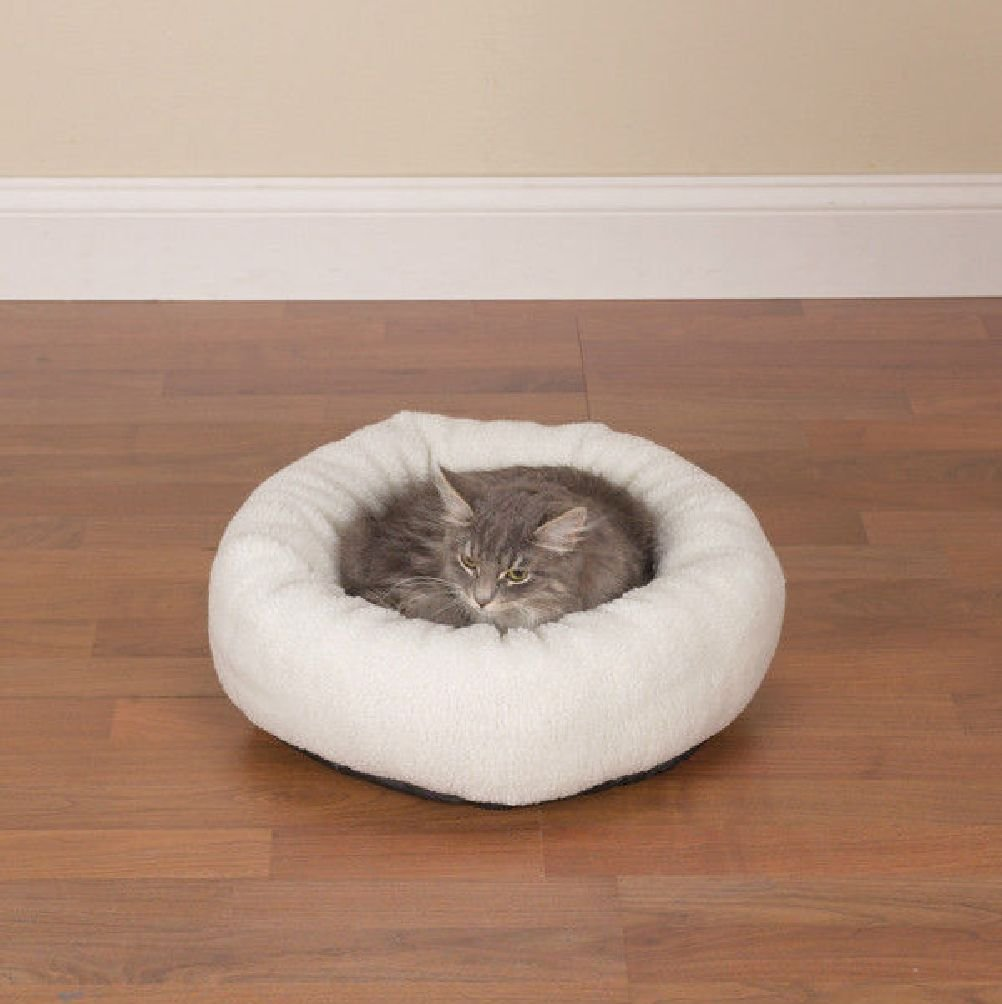 Cozy Kitty Donut Style Cat Bed Soft Warm Comfy Bolster Beds For Cats' Comfort