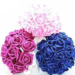 YJYdada Artificial Flower, Crystal Roses Pearl Bridesmaid Wedding Bouquet Bridal Artificial Silk Flowers De(Blue) 3