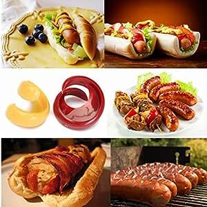 JoShop 2Pcs Spiral Hot Dog Cutter Slicers Fancy Sausage Cutter Slicer Kitchen Gadget