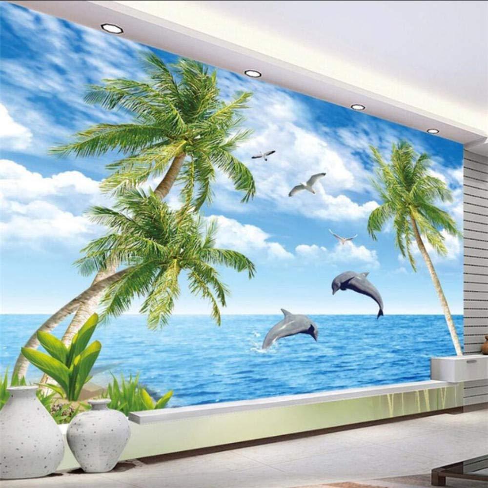美しいイルカ湾の恋人のシンボル愛テレビの背景の壁カスタム大きな壁画