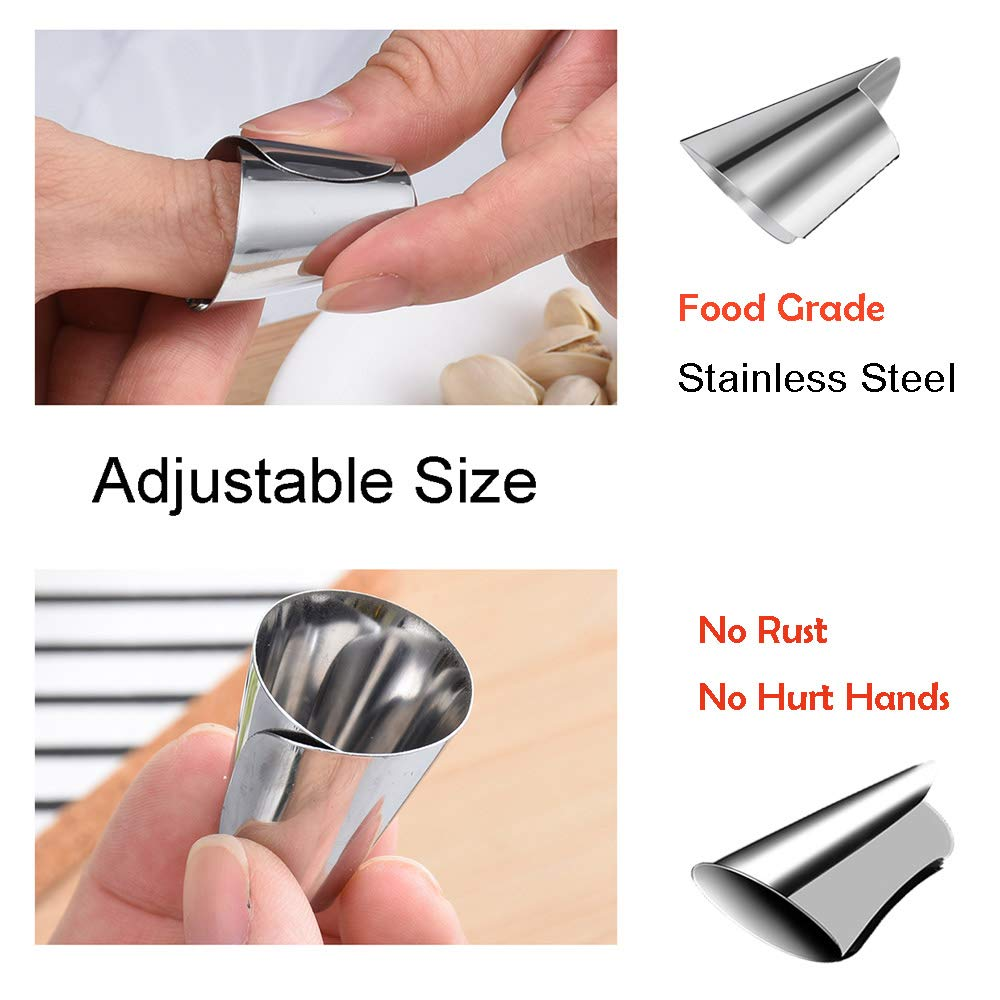 Adjustable Cut Resistant Hand Guard Finger Protector,Peelers for Nuts,Fruits,Seafood Sheller for Crab Legs, Lobster,Food Grade Stainless Steel Slice Cutter Safety Zesters for Kitchen Tool (2 pack) by MepLife (Image #3)