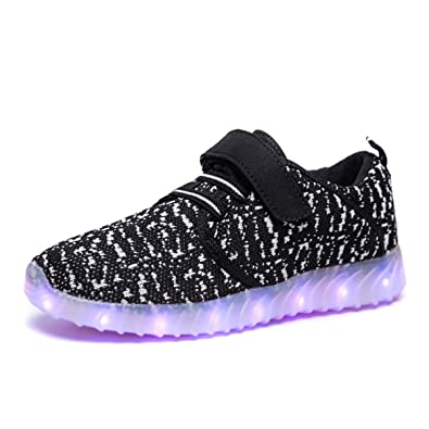 Boys Childrens Knitted Mesh Lights Sports Shoes Boys Breathable Running Shoes Cartoon Led Childrens Sports Shoes