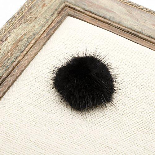 ZAKIA Women' Fluffy Mink Fur Pom Removable Shoe Clips Clutch Wedding Decoration Pack of 2 (Black) by ZAKIA (Image #5)