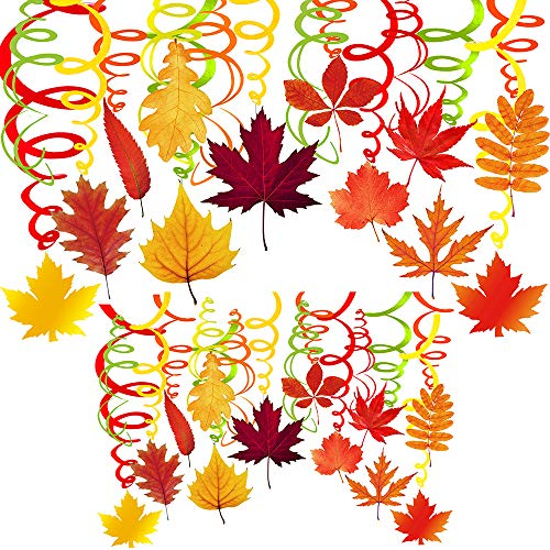 Supla 40 Pcs Fall Hanging Swirl Decorations Fall Leaves Wedding Party Swirls Streamers Foil Hanging Ceiling Décor with Assorted Fall Maple Oak Leaf Cutouts for Autumn Birthday Nursery Classroom Decor