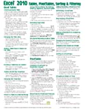 Microsoft Excel 2010 Tables, PivotTables, Sorting & Filtering Quick Reference Guide (Cheat Sheet of Instructions, Tips & Shortcuts - Laminated Card)