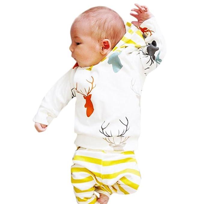 9db2b1f24 K-youth Conjuntos Niñas y niño Navidad 0-24 Meses Ropa Bebe Recien Nacido  Otoño Invierno Camiseta de Manga Larga Sudaderas Niño Capucha Originales y  Rayas ...