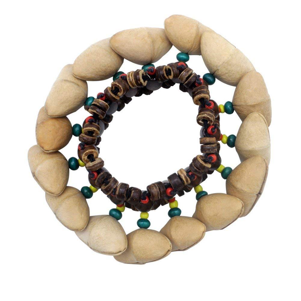 Wintefei Unique African Style Nutshells Crackle Bracelet Elastic Beads Chain Hand Decor