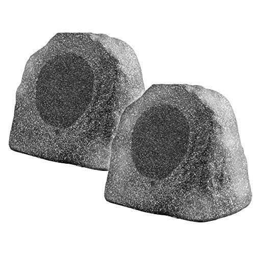 """Bluetooth Wireless Rock Speaker Pair, 8"""" 100W Weather-Resistant Outdoor Speakers with IP67 Waterproof Power Supply and Reinforced Cabinet Shell - (Grey)"""