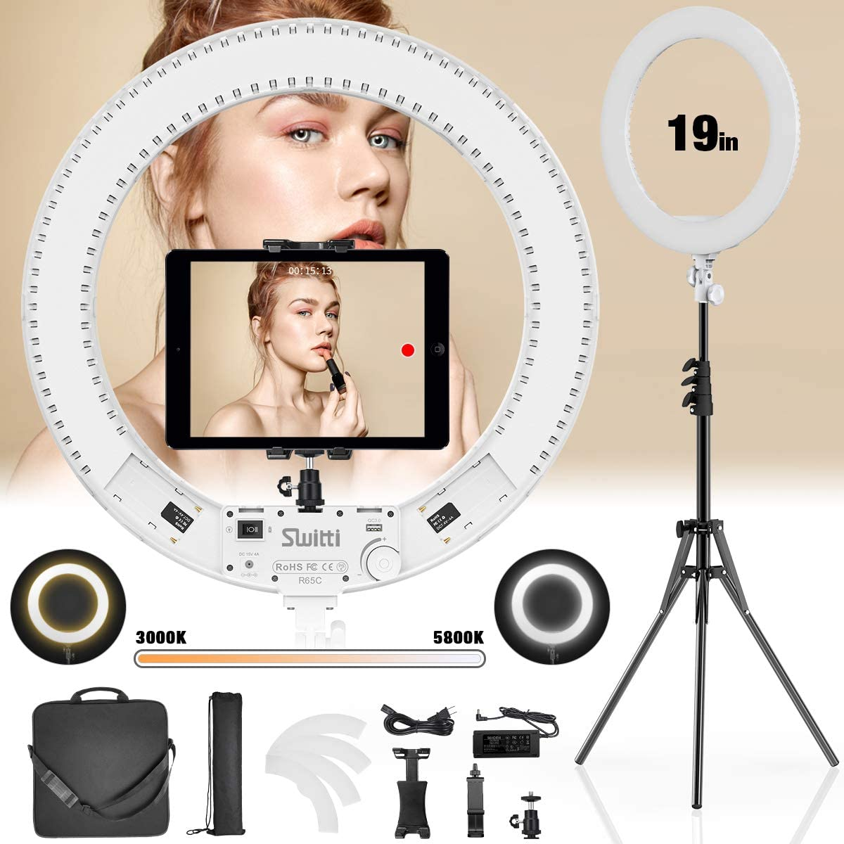 Switti Ring Light with Stand and ipad & Phone Holder,Makeup LED Ring Lights 60W Bi-Color 3000K-5800K CRI≥97 & TLCI ≥99 for YouTube, Facebook Live,Twitch and Blogging (White)