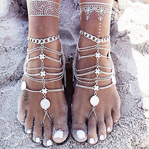 Kercisbeauty Old Fashion Hollow Out Silver Sequins Coin Pendant Beads Anklet Ankle Foot Beach Bracelet Barefoot Sandal Slippers a Flip flop Bracelet Accessories Adjustable Unique Vintage Boho Style