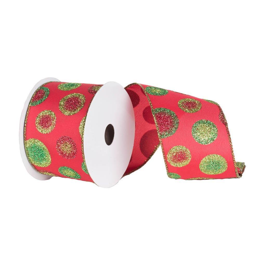 Vickerman Q130139 4'' x 10yd Red Red-Grn Dots Ribbon   B00E5MPUPE