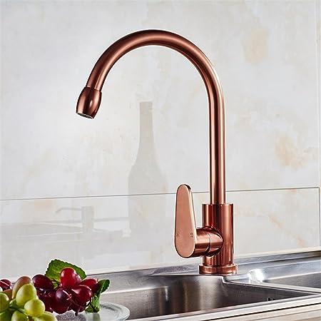 Kitchen Taps Double Spout Lever Flexible Rose Gold Color , Kitchen ...