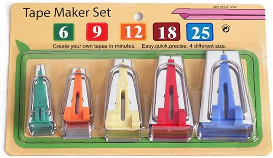 Set of 5 Size Fabric Bias Tape Maker Tools 6mm 9mm 12mm 18mm 25mm Fabric Sewing Quilting Bias Binding Maker