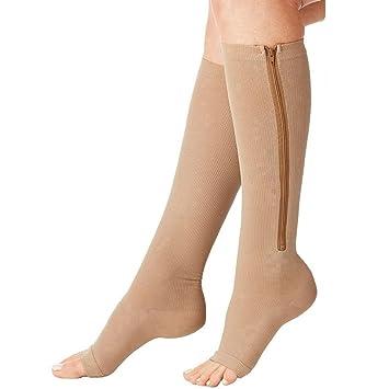 Calcetines, medias de compresión con cremalleras SZ1024 largas casi a la altura de la rodilla, color beige, tamaño S/M: Amazon.es: Deportes y aire libre