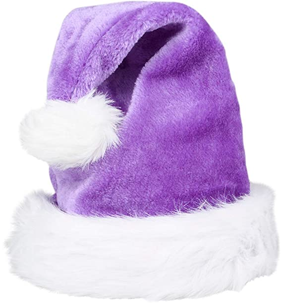 ffc75064de9eb Amazon.com  Christmas Purple Plush Faux Fur Trim Santa Hat Costume  Accessory  Clothing