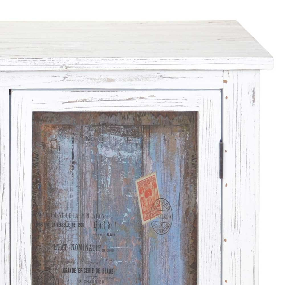 Vintage Schuhschrank in Weiß Blau 100 cm breit Pharao24: Amazon.de ...
