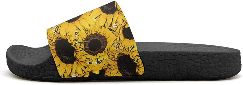 Mens Guys Slipper Yellow Sunflower Background Classic EVA Open Toe Flat Shower Flip Flops