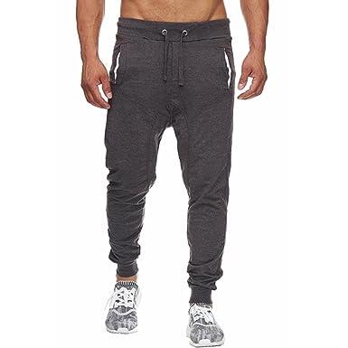 3e82ff938f9e8 OHQ Pantalon De Sport à Cordon Coulissant Pure Color pour Homme ...