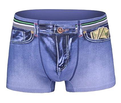 8f8cd0c424d Alion Milk Fashion Jean Denim Underwear Mens Sexy Jeans Pattern for Man  Boxers 1 XS