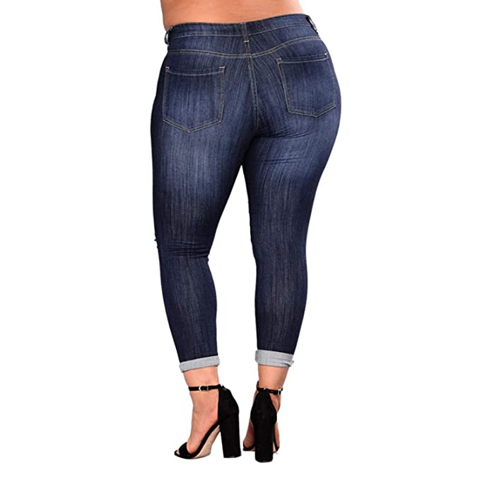 35df1f83a7c04f Women Jeans Plus Size Sexy Ripped Hole Distressed High Waist Mom Skinny  Jeans Casual Hollow Out Denim Pencil Pants: Amazon.ca: Clothing &  Accessories