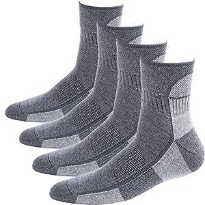Areke Men's Comfort Cushion Hiking Crew Socks, Athletic Quarter Soxs, 4Pair Dark Grey Size US Shoe Size 11-15