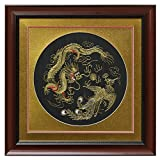 China Furniture Online Silk Embroidery Frame, Gold Dragon and Phoenix Motif on Black Background