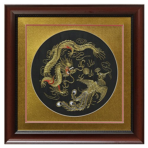China Furniture Online Silk Embroidery Frame, Gold Dragon and Phoenix Motif on Black Background by ChinaFurnitureOnline