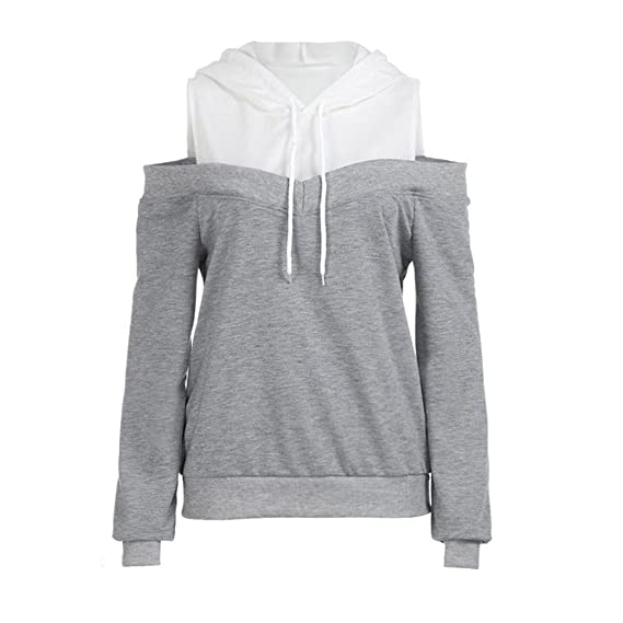 Heeqpmin Sweatshirt Women New Off Shoulder Long Sleeve Hoodie at Amazon Womens Clothing store: