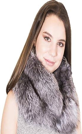 Bufanda de piel mujer, piel 100% auténtica zorro color plateado, suave, cálida y ligera, extraordinaria resistencia, oferta en bufandas mujer
