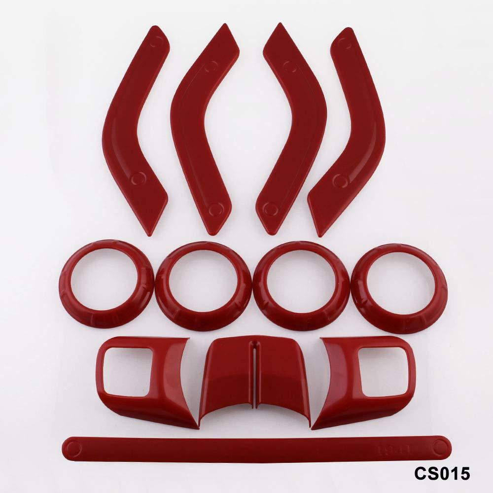 BEESCLOVER Lot de 12 Garnitures de d/écoration int/érieure pour Volant et Console Centrale pour Jeep Wrangler JK JKU Rouge