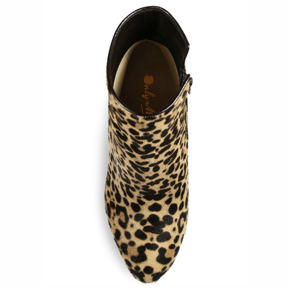 Onlymaker Damen Pumps Stiletto Stiefel High Heels Heels Heels Kurzschaft Stiefelette mit Plateau Leopard a20c7c