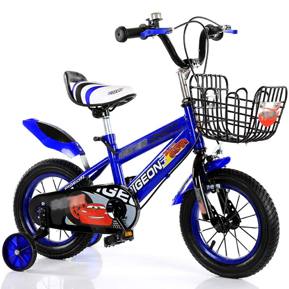 BAICHEN Biciclette per Bambini,Bicicletta per Bambini 3 Colorei,nella Misura 12 , 14 , 16 con la rossoella di addestramento,per Ragazzo e Ragazza di età Compresa tra 2-7,blu,16inches