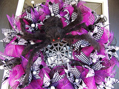 CLEARANCE Not So Itsy Bitsy Spider Halloween Deco Mesh Front Door Wreath, Friendly Giant Web, Porch Patio Decor Wall, Indoor Outdoor Yard -