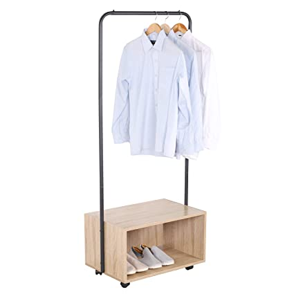 Woltu Heavy Duty Clothes Rail On Wheelsthick Metal Coat Rack With