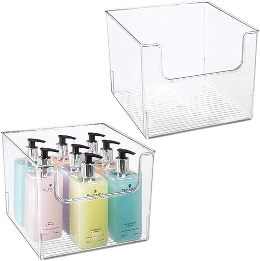 mDesign Juego de 2 cajas organizadoras para el baño – Caja de ...