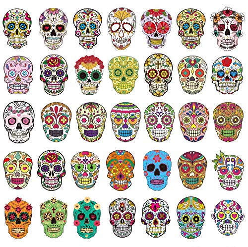 Sugar Skull Stickers Pack [50pcs], Sanmatic Sticker Graffiti Skateboard Stickers Laptop Cartoon Luggage Decal (Colored Skull Sticker)]()